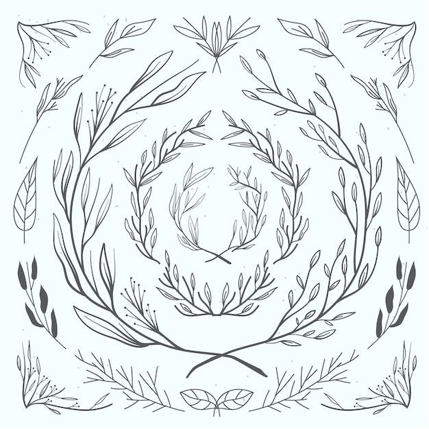 Collection d'ornements floraux Vecteur Premium