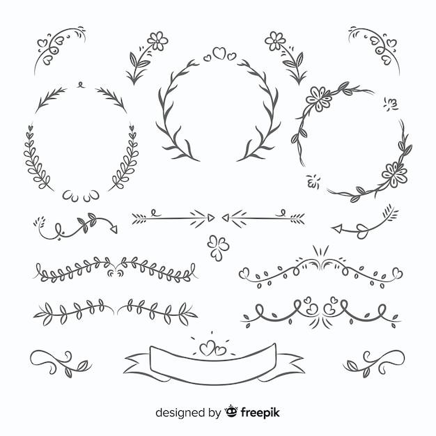 Collection d'ornements de mariage belle dessinés à la main Vecteur gratuit