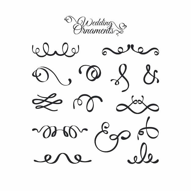 Collection d'ornements de mariage calligraphiques Vecteur gratuit