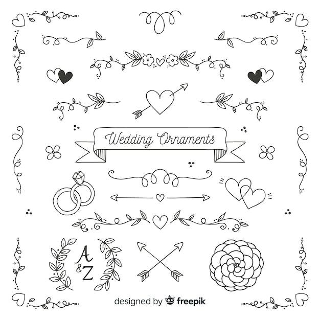 Collection d'ornements de mariage dessinés à la main minimaliste Vecteur gratuit