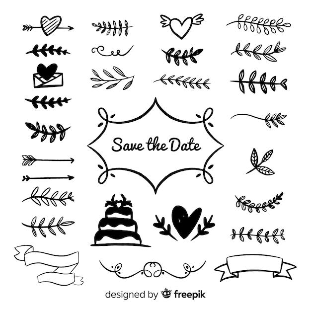 Collection d'ornements de mariage dessinés à la main Vecteur gratuit