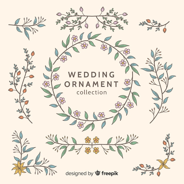 Collection d'ornements de mariage dessinés à la main Vecteur gratuit