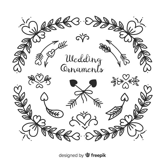 Collection d'ornements ronds de mariage dessinés à la main Vecteur gratuit