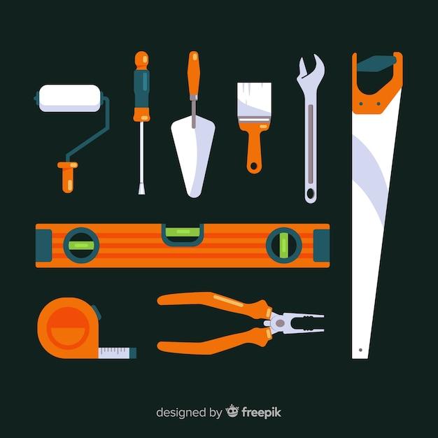 Collection d'outils de construction plate Vecteur gratuit