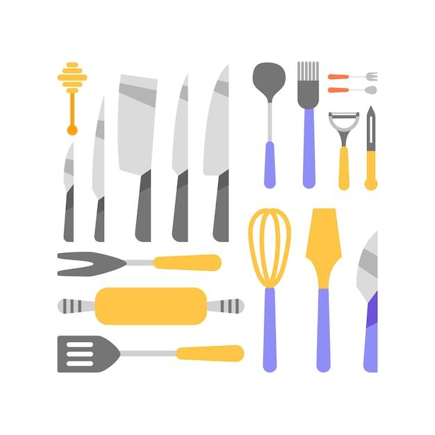 Collection d'outils de cuisine Vecteur gratuit