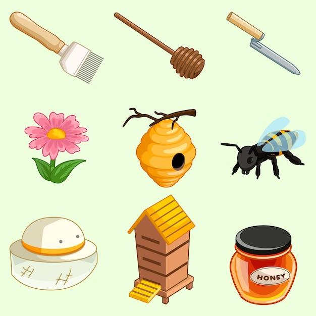 Collection d'outils de la ferme de miel Vecteur Premium