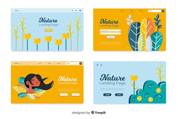 Collection de pages d'atterrissage nature Vecteur gratuit