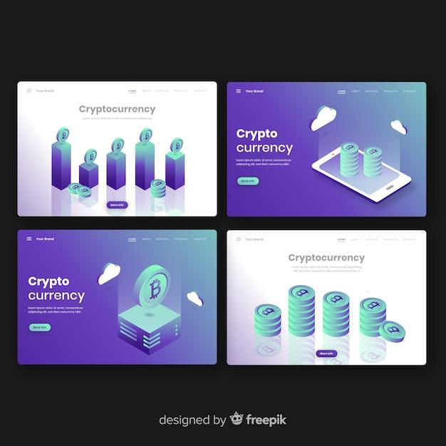Collection de pages de destination crypto-monnaie Vecteur gratuit