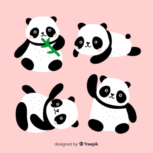 Collection De Panda Adorable Dessiné à La Main Vecteur gratuit