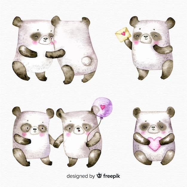 Collection de panda pour la saint valentin Vecteur gratuit