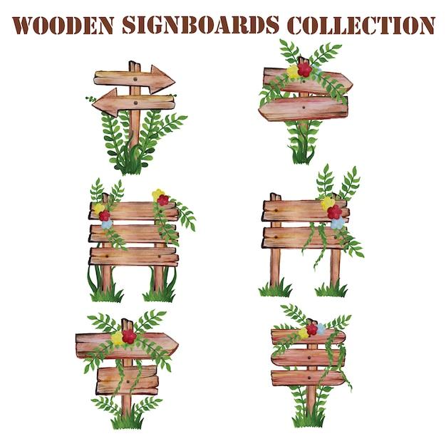 Collection de panneaux en bois Vecteur gratuit