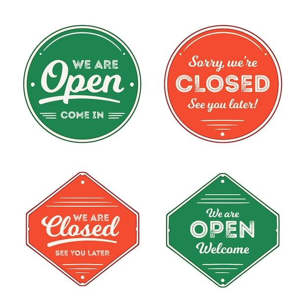 Collection De Panneaux Vintage Ouverts Et Fermés Vecteur gratuit
