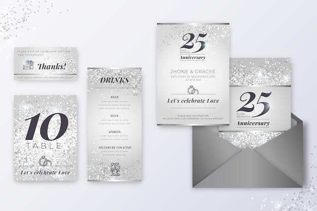 Collection De Papeterie Anniversaire 25 Ans Vecteur gratuit