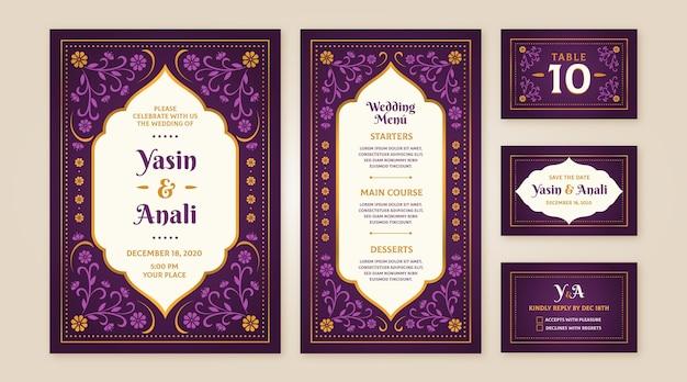 Collection De Papeterie De Mariage Indien Vecteur gratuit