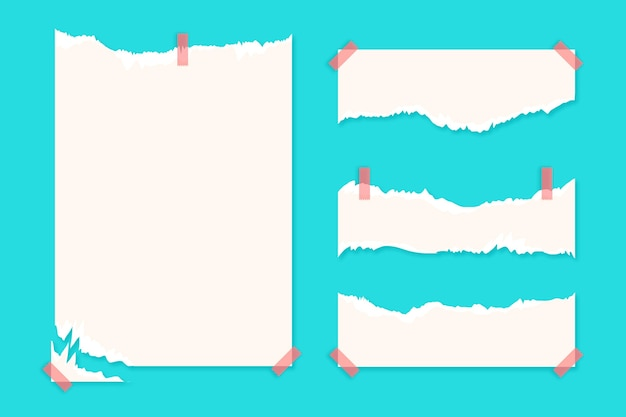 Collection De Papier Déchiré Avec Du Ruban Adhésif Vecteur Premium