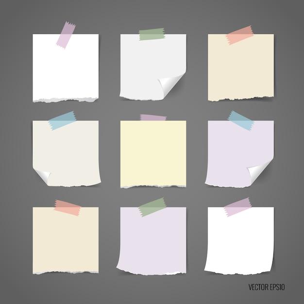 Collection De Papier Déchiré Multicolore Vecteur gratuit