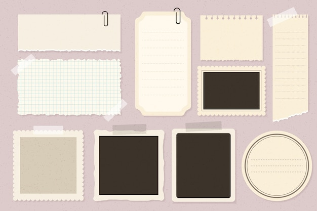Collection De Papier Scrapbook Vintage Vecteur Premium