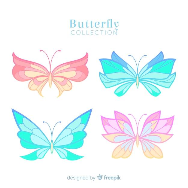 Collection papillon couleur pastel Vecteur gratuit