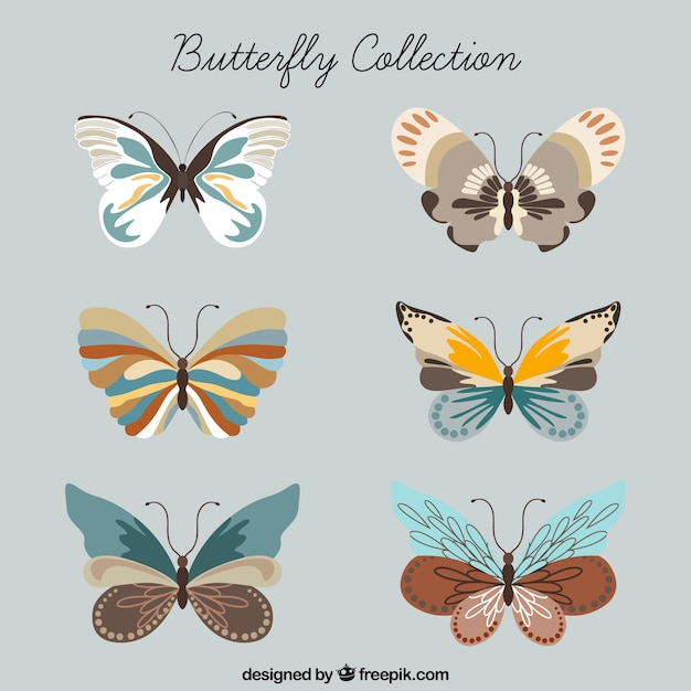 Collection papillon Vecteur gratuit