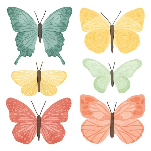 Collection De Papillons Aquarelle Mignon Vecteur gratuit
