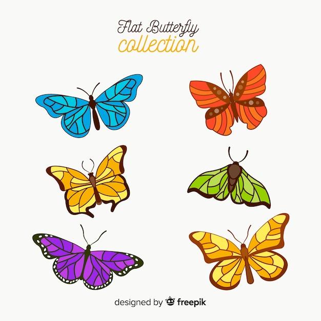 Collection de papillons colorés réalistes Vecteur gratuit