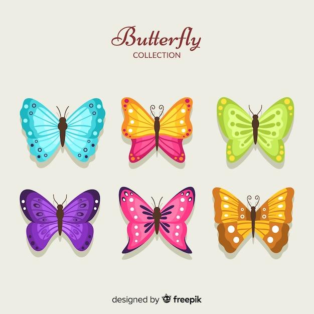 Collection De Papillons Colorés Vecteur gratuit