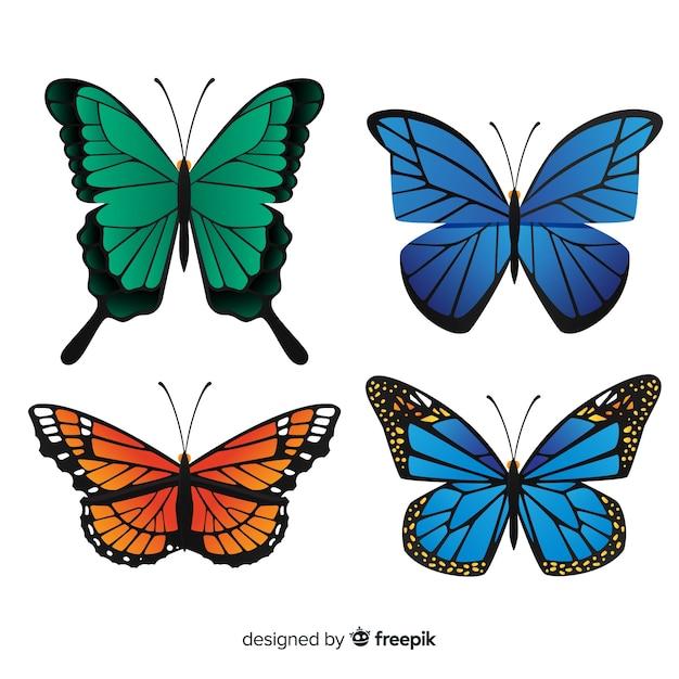 Collection De Papillons Plats Vecteur gratuit