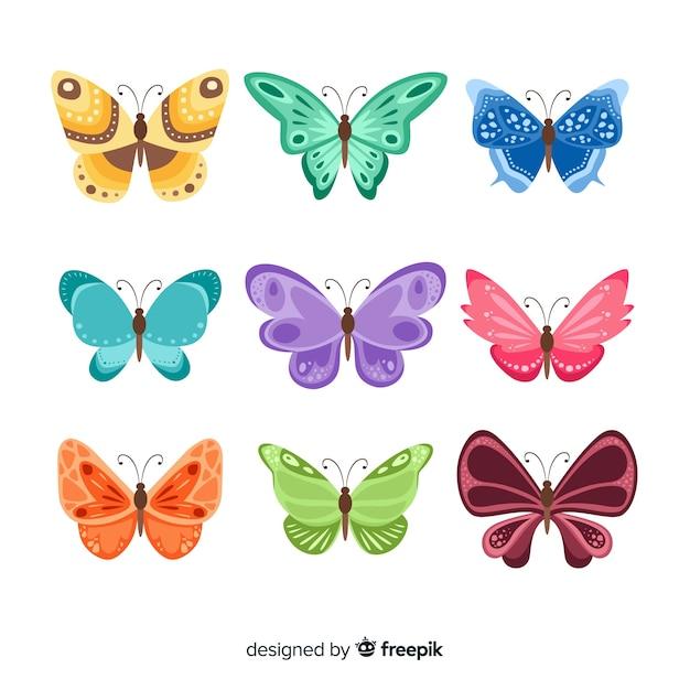Collection De Papillons Plats Vecteur Premium