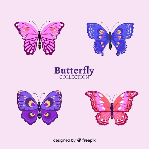 Collection de papillons réalistes Vecteur gratuit
