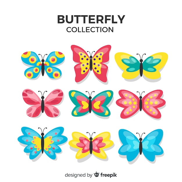 Collection de papillons Vecteur gratuit