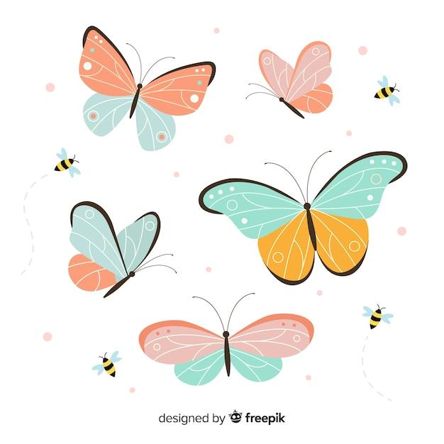 Collection De Papillons Vecteur Premium