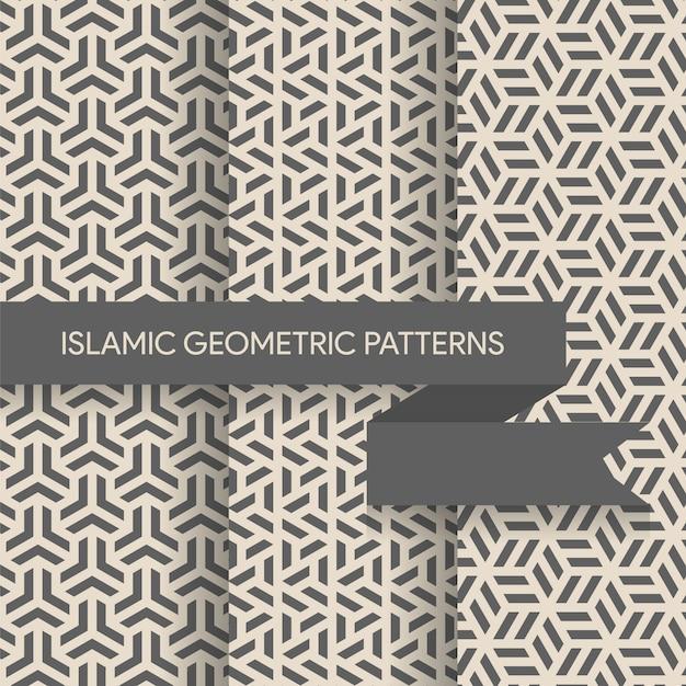 Collection de patrons d'arrière-plans géométriques sans soudure Vecteur Premium