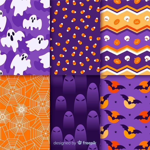 Collection de patrons pour une nuit d'halloween effrayante Vecteur gratuit