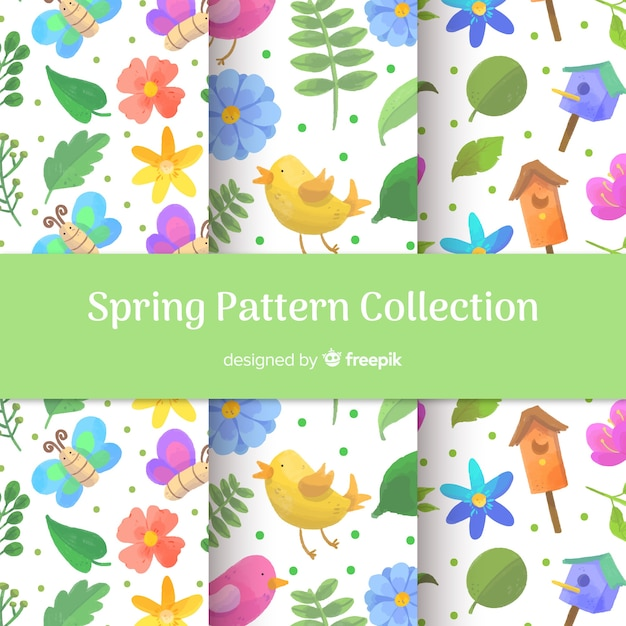 Collection de patrons de printemps Vecteur gratuit