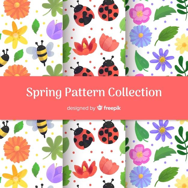 Collection de patrons de printemps Vecteur gratuit