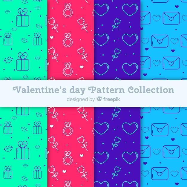 Collection de patrons de la saint valentin Vecteur gratuit