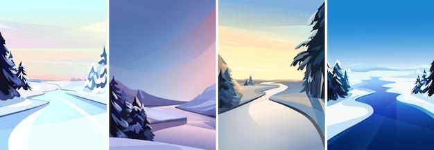 Collection De Paysages Fluviaux. Paysages D'hiver En Orientation Verticale. Vecteur Premium