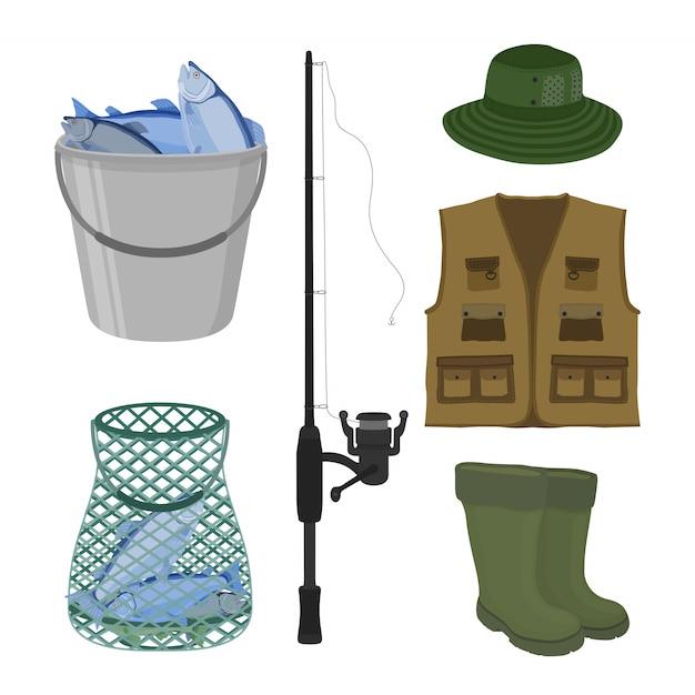 Collection de pêche Vecteur Premium