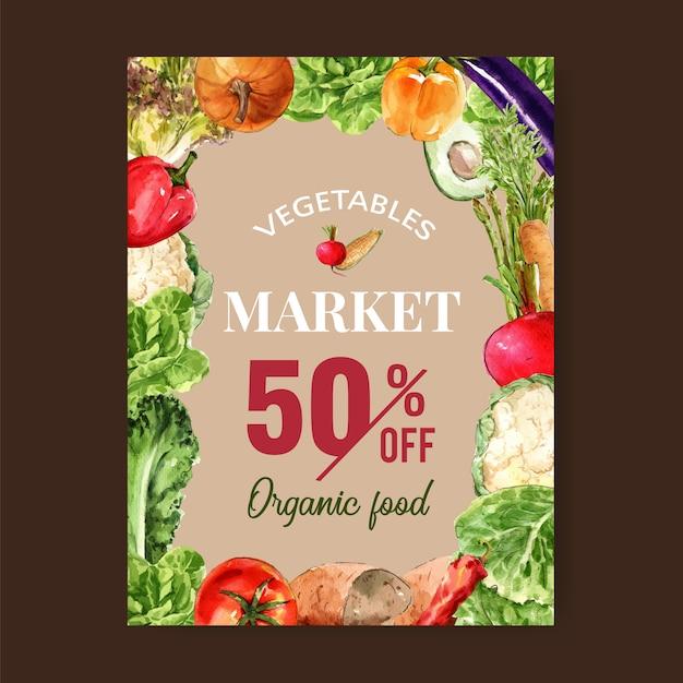 Collection de peinture végétale à l'aquarelle. illustration en bonne santé flyer affiche organique flyer Vecteur gratuit