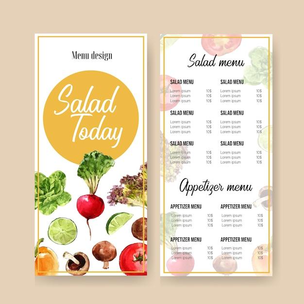 Collection de peinture végétale à l'aquarelle. illustration saine de menu bio de nourriture fraîche Vecteur gratuit