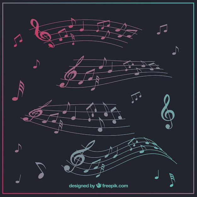 Collection De Pentagramme Avec Notes De Musique Vecteur gratuit