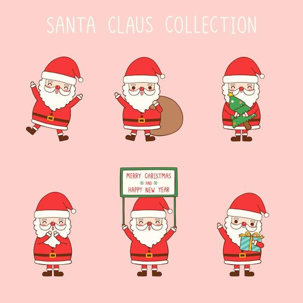 Collection De Père Noël Dessin Animé Mignon Dans Un Style