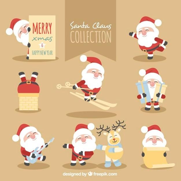 Collection De Père Noël Faire Des Activités Diverses Vecteur gratuit
