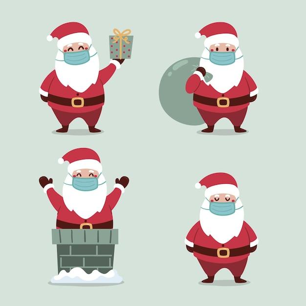 Collection De Père Noël Portant Un Masque Facial Vecteur gratuit