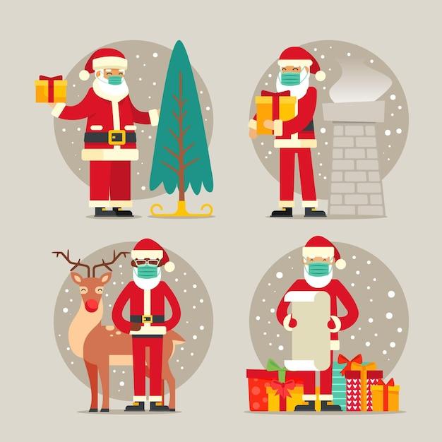 Collection De Père Noël Portant Un Masque Facial Vecteur Premium