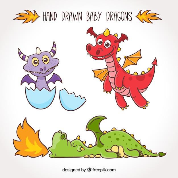 Collection de personnage de bébé dragon Vecteur gratuit