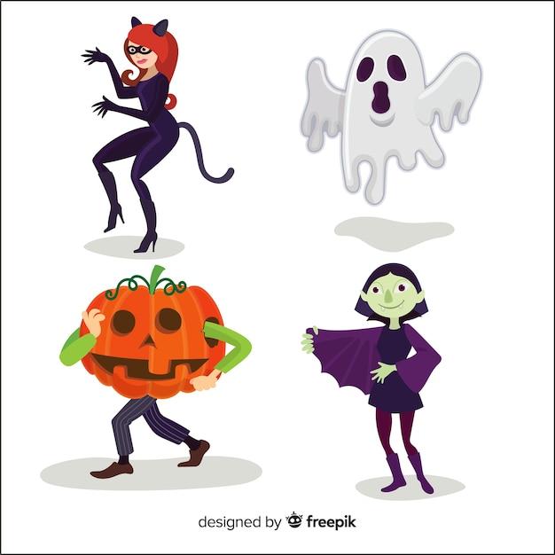 Collection De Personnage D'halloween Au Design Plat Vecteur gratuit