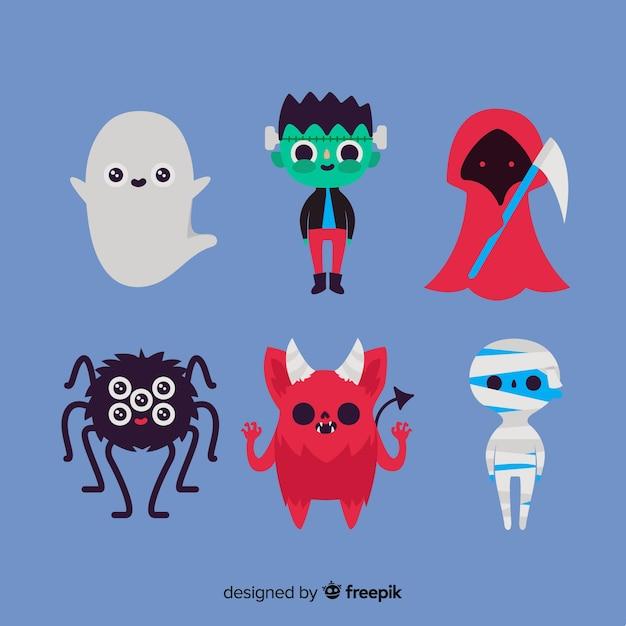 Collection de personnage plat halloween sur fond bleu Vecteur gratuit