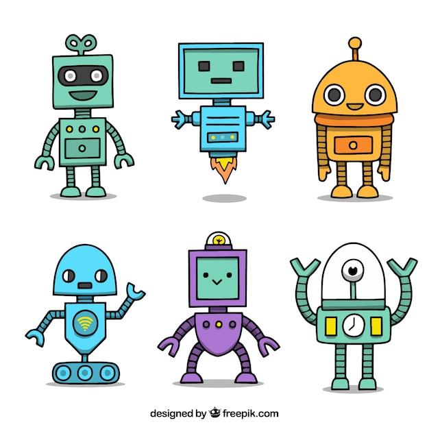 Collection de personnage robot dessinés à la main Vecteur gratuit