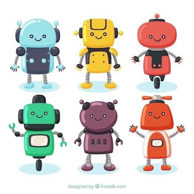 Collection De Personnage Robot Dessinés à La Main Vecteur Premium